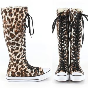NWOT Tall Lace Up Animal Print Sneakers Size 6